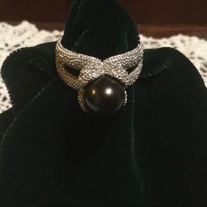 Black Pearl Pave' 925 Sterling Silver Ring
